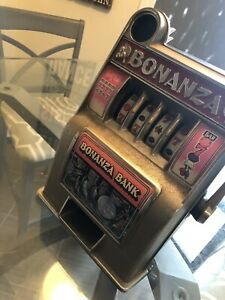 Vintage Hong Kong BONANZA BANK 4 Reel Slot Machine Style Bank