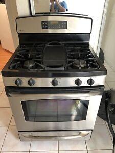 GE burner stainless steel gas stove range warmer drawer