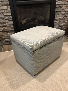 Green and Silver Zebra Stripes Footstool