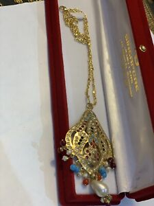 New 22k gold plated pandant with chain multi stones