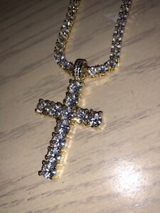14K Gold Tennis Cross ( Chain )