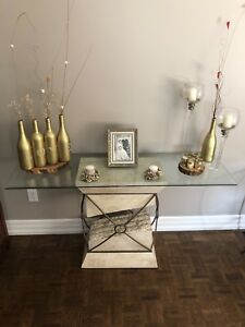 3 Set Glass, Wrought Iron & Marble Tables