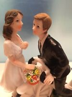 WEDDING CAKE TOPPER - GROOM AND BRIDE ON A BIKE