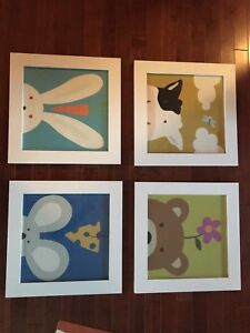 Four square prints for nursery or child's room