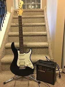 Yamaha Electric Guitar with stand and Amp