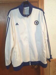 Adidas white Chelsea FC men's zip up truck top jacket