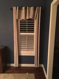 2 SETS Beige Curtains Drapes with Center piece