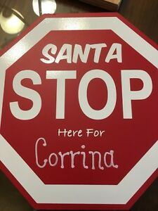 Personalized Santa Stop Here Signs