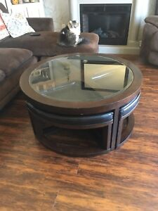 Coffee table and benches