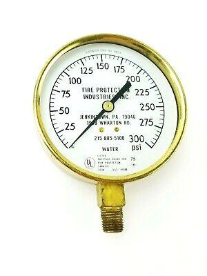 Vintage Brass Water Pressure Gauge Fire Protection 300 Psi No 3813 Steampunk
