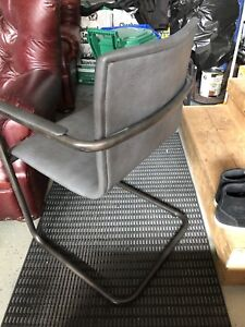 6 dining arm chairs, black leather