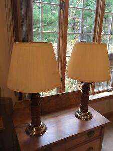 Matching pair of wooden table lamps