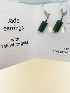 Genuine Green Jade  in 14 K  White Gold Earrings