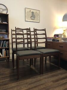 Mid century modern ladder back dining chairs