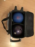 Strikeforce Wheeled 2-Ball Bowling bag, balls & shoes
