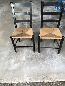 Two beautiful antique rush seat chairs.
