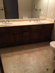 Bathroom vanity with sinks, and faucets
