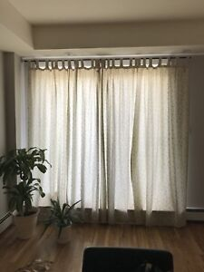 5 curtain panels + Rod from wickor emporium