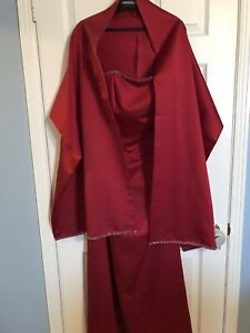 Red gown with matching shawl