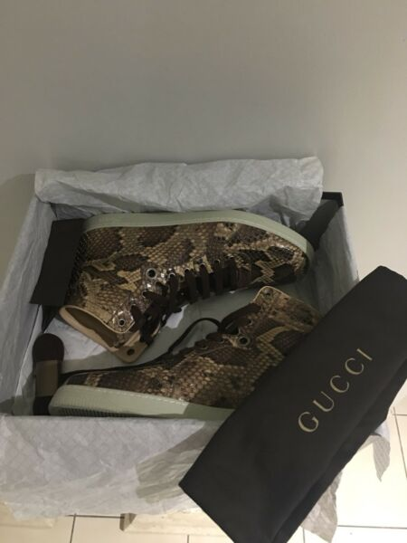 """2155f0bed1d 100% authentic GUCCI Python """" snakeskin """" high top sneakers"""