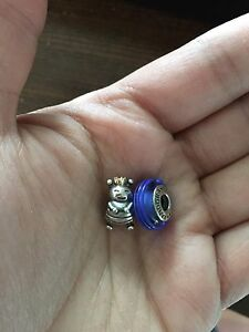 Pandora beads-queen bee and blue ribbon murano