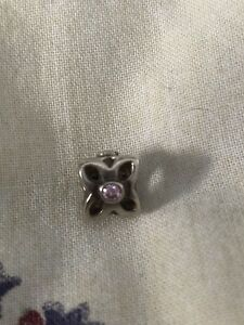 Pandora Flower Charm with Pink Gem For Sale - $15