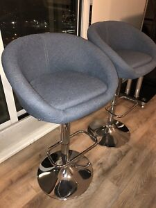 **Blue adjustable bar stools **$140 for pair***