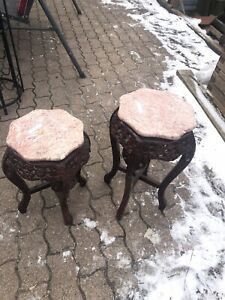 Heavy Vintage Mahogany marble top corner tables/plant stands