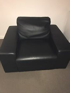 Two black single leather couches Silverwater Auburn Area Preview