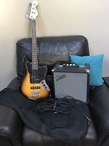 Bass guitar and amp