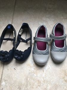 Clark's silver and patent leather toddler size 5 shoe