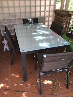 Outdoor tables and chairs - 2 glass tables, 8 chairs