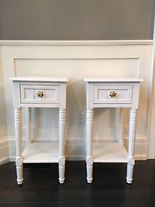 White wooden nightstands