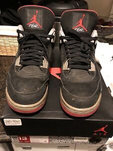 Jordan IV 4 Bred Size 13 Mens Pre-owned Used 100% authentic