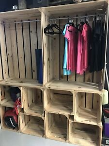 Retail or clothing display, apple boxes