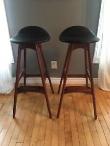 Beautiful pair of Teak bar stools model OD61 by Erik Buch