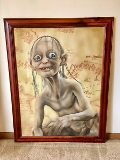 Gollum Airbrushed Portrait Framed Wall Art Aspendale Gardens Kingston Area Preview
