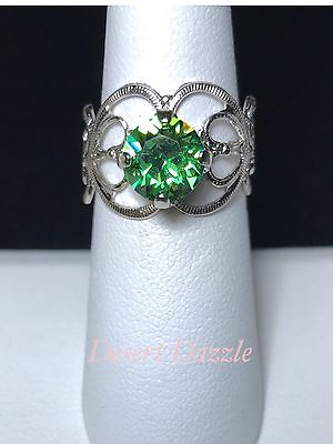 (Crystal Ring Adjustable Size 4 to 9 Silver Plate Peridot Green Made W/ Swarovski)