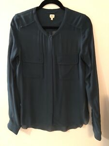 Aritzia 100% Silk Teal Blouse by Wilfred - Size S