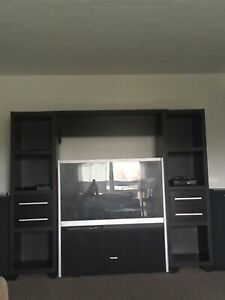 Large screen tv and entertainment center