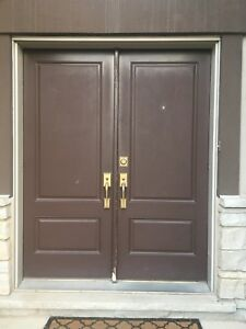 Double doors for house with hardware