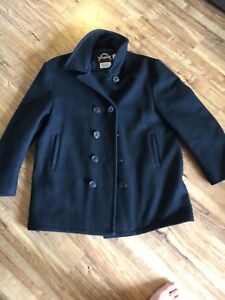 Men's Heavy Wool Peacoat black Made in USA size large