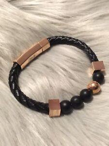 Vitaly rose gold and black leather bracelet