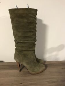 Green suede knee high boots