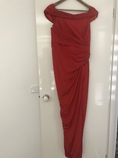 Red shoulder draped gown - bariano dress size 14
