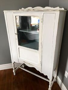 Vintage hutch w pale duck egg interior