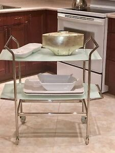 Silver Two-tier Dining/Cocktail Trolley