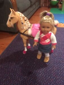 American girl and horse