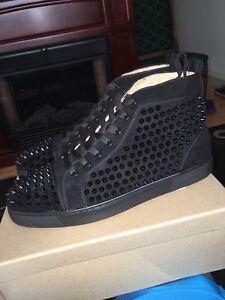 Black Christian Louboutian Spike Flats Size 43