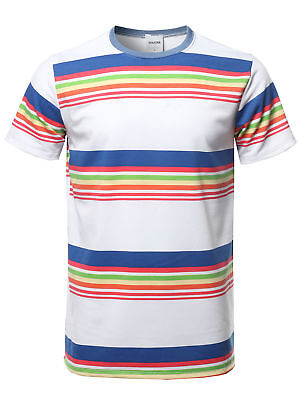 FashionOutfit Men's Stripe Pattern French Terry Short Sleeves Crew Neck Tee
